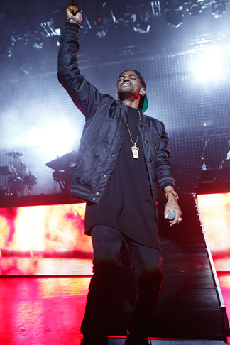 Description of . Big Sean on stage at DTE Energy Music Theatre on Saturday, Aug. 31, 2013. Photo by Ken Settle