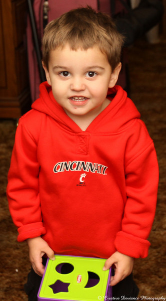 December 17,  2009  Wearing his new sweatshirt from Grandma who came to visit from Ohio