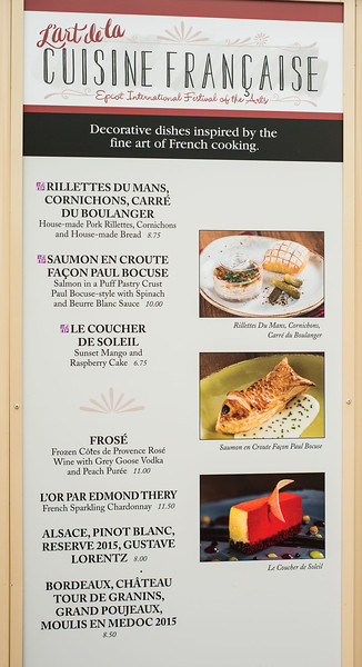 Epcot International Festival of the Arts - L'art de la Cuisine Francaise Menu - Magic Kingdom Walt Disney World