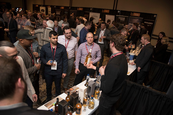 DAVID LIPNOWSKI / WINNIPEG FREE PRESS  Patrons take in the 2017 Winnipeg Whiskey Festival Friday March 3, 2017 at the Fairmont Hotel.