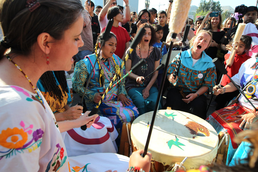 ". Native American drummers with the Morning Star Foundation demonstrate at the steps of City Hall during the ""Forward on Climate\"" rally to call on President Obama to take strong action on the climate crisis on February 17, 2013 in Los Angeles, California. Organizers say the rally, which is led by Tar Sands Action Southern California and Sierra Club, is composed of a coalition of over 90 groups and coincides with similar rallies in Washington D.C. and other U.S. cities.  (Photo by David McNew/Getty Images)"