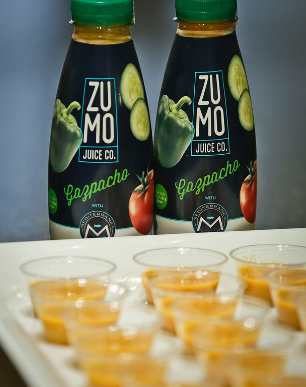 . Zumo Gazpacho seawater beverages are unveiled at a press preview among the 2017 Sofi specialty foods product, Thursday, June 22, 2017, in New York. The product is among thousands of food and beverage items from more than 2,600 food artisans, importers and entrepreneurs from the around the globe at the annual Summer Fancy Food Show at the Javits Center. (AP Photo/Bebeto Matthews)