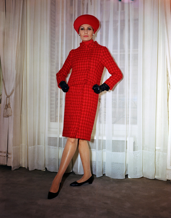 . Red checkered woolen afternoon ensemble French suit in 1966. (AP Photo)