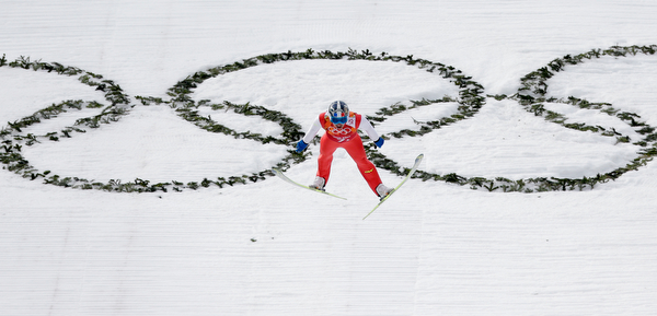 . France\'s Maxime Laheurte makes his attempt during the ski jumping portion of the Nordic combined Gundersen large hill team competition at the 2014 Winter Olympics, Thursday, Feb. 20, 2014, in Krasnaya Polyana, Russia. (AP Photo/Matthias Schrader)
