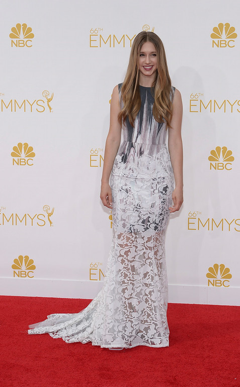 . Taissa Farmiga on the red carpet at the 66th Primetime Emmy Awards show at the Nokia Theatre in Los Angeles, California on Monday August 25, 2014. (Photo by John McCoy / Los Angeles Daily News)