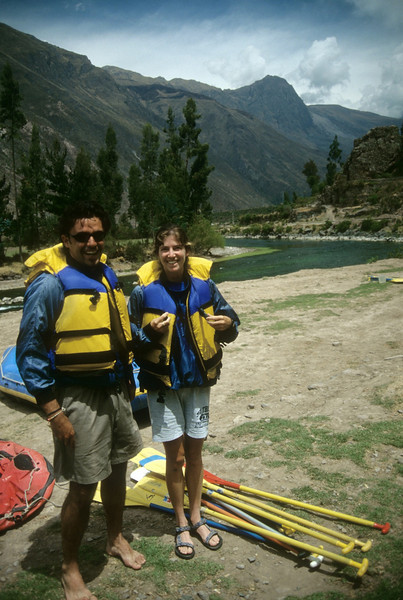 Angela & Andrea getting ready for some river rafting on the Urubamba
