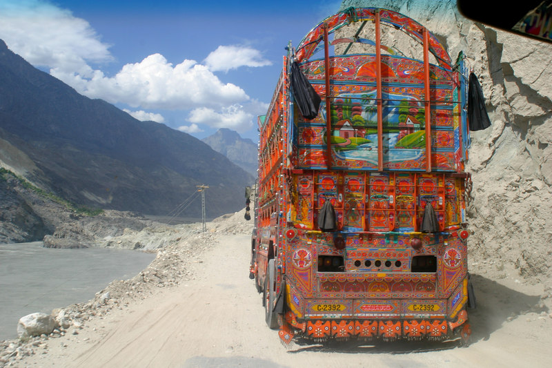 The well adorned trucks along the KKH.