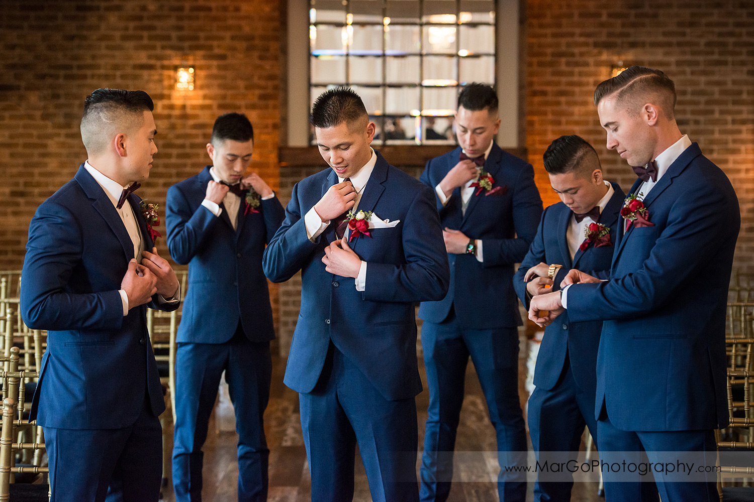 groom and groomsmen getting ready at Sunol's Casa Bella