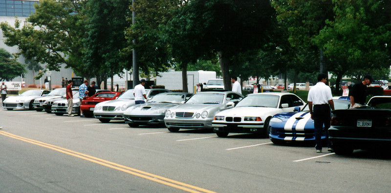 Japanese and German sports cars and sedans significantly outnumber the American muscle.  The silver 550 Maranello (in the middle of the shot) is the only Ferrari at the event.