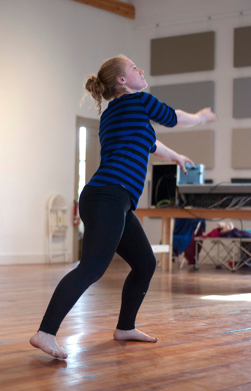 . Kayla Rice/Reformer                                 IBIT (Intrinsic Beauty of Invisible Things) dancer Genevieve Amarante rehearses in Brattleboro on Tuesday afternoon.