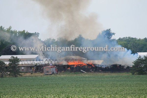 8/10/16 - Hamlin Twp barn fire, 11601 Ballard Hwy