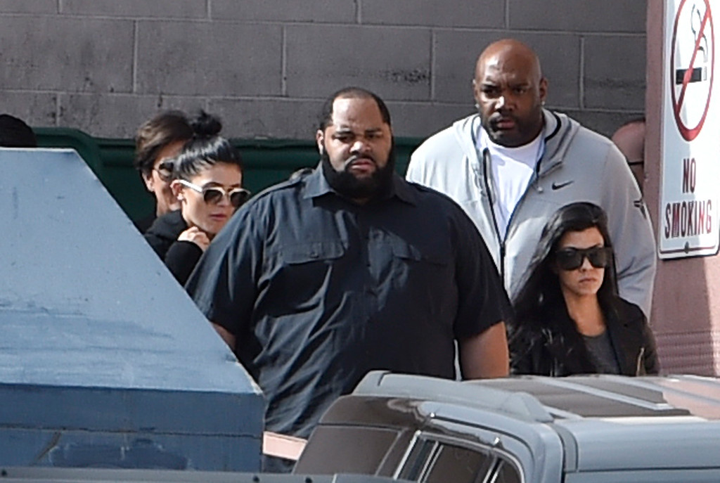 . Television personalities Kris Jenner, (L) Kylie Jenner and Kourtney Kardashian (R) exit through a back door after visiting Lamar Odom at Sunrise Hospital & Medical Center on October 15, 2015 in Las Vegas, Nevada.  (Photo by David Becker/Getty Images)