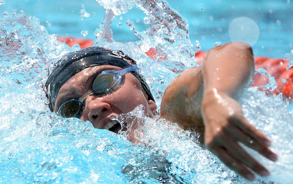. Glendora\'s Catherine Sanchez competes in the 100 yard freestyle yard race during the Division 2 CIF Southern Section Swimming Championships in the Riverside Aquatics Complex at Riverside City College in Riverside, Calif., on Saturday, May 17, 2014.  (Keith Birmingham/Pasadena Star-News)