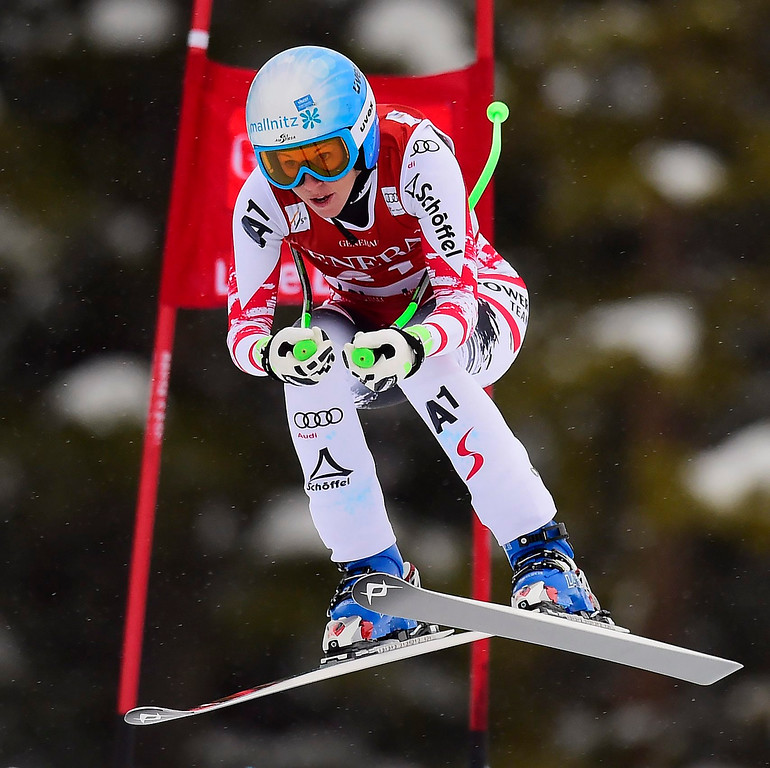. Regina Sterz, of Austria , races down the course during the women\'s World Cup downhill ski race in Lake Louise, Alberta, Saturday, Dec. 6, 2014. (AP Photo/The Canadian Press, Frank Gunn)