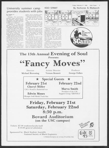 Daily Trojan, Vol. 100, No. 29, February 21, 1986