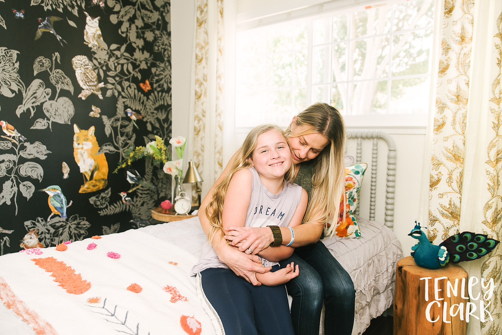 Whimsical, colorful, forest themed girls room done by Lisa Furtado Interiors for a young girl diagnosed with Friedreichs Ataxia. Photos by Tenley Clark.