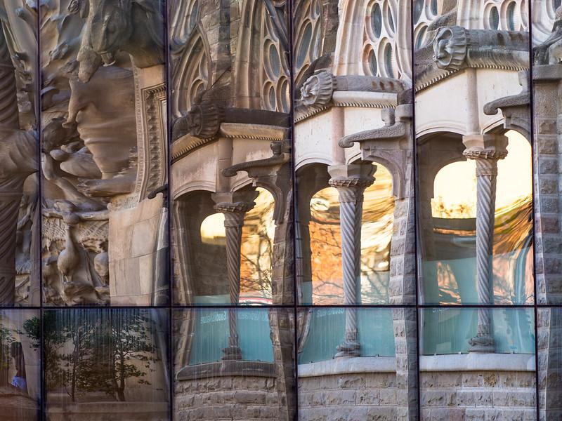 Sagrada Familia in reflection