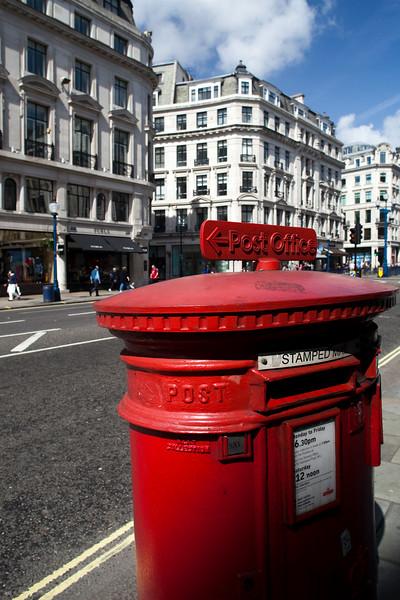 Letter box, Regent street, Westminster, London, England, United Kingdom