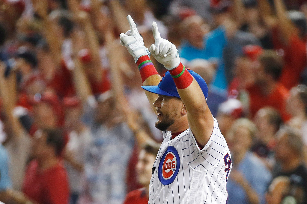 . Chicago Cubs Kyle Schwarber (12) reacts to his hits during the MLB Home Run Derby, at Nationals Park, Monday, July 16, 2018 in Washington. The 89th MLB baseball All-Star Game will be played Tuesday. (AP Photo/Patrick Semansky)