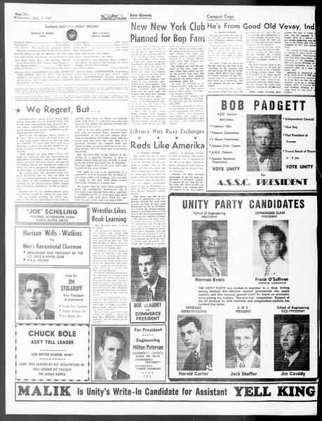 Daily Trojan, Vol. 40, No. 132, May 04, 1949