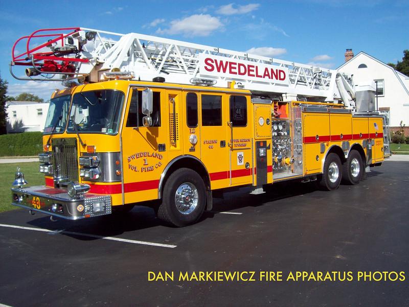 SWEDELAND VOLUNTEER FIRE CO. LADDER 48 1996 SPARTAN/SMEAL AERIAL QUINT