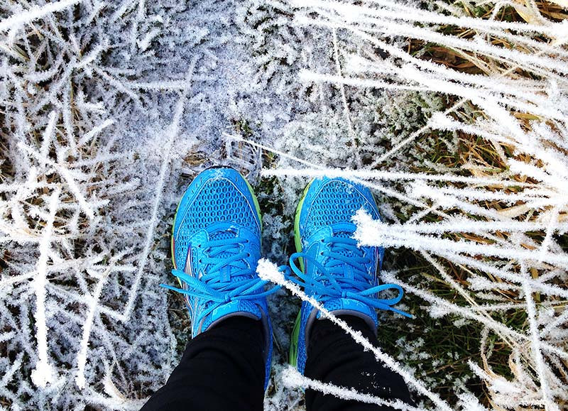 My blue shoes in the frost. Alaska. (Photo: Kim Olson)