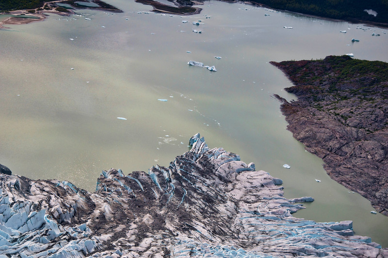 The tip of Mendenhall Glacier from above.
