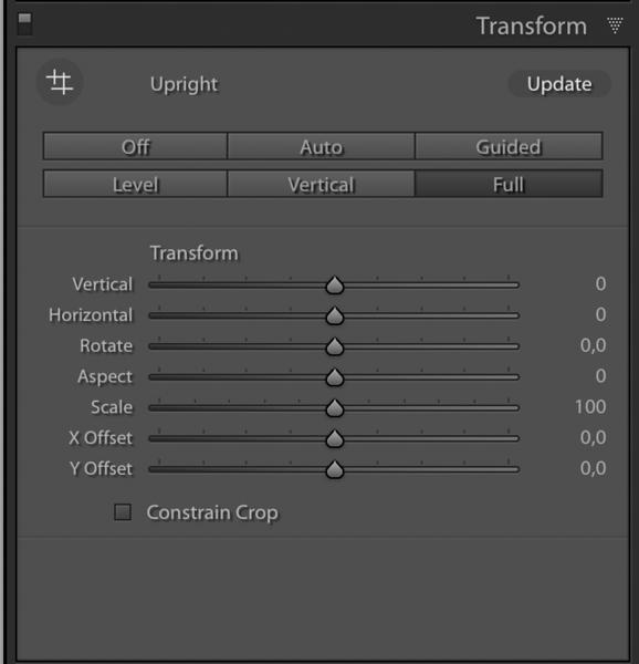 Adobe ® Lightroom's Transform Panel
