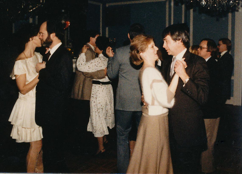 Pamela & Howard Gesbeck dancing at an annual Williams, Young & Associates party.  January 1985.