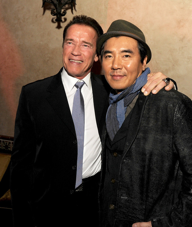 ". Actor Arnold Schwarzenegger (L) and director Jee-woon Kim pose at the after party for the premiere of Lionsgate Films\' ""The Last Stand\"" at the Roosevelt Hotel on January 14, 2013 in Los Angeles, California.  (Photo by Kevin Winter/Getty Images)"