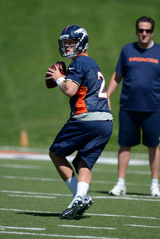 . Quarterback Zac Dysert of the Denver Broncos drops back to pass during the last day of rookie mini camp on May 12, 20313 at Dover Valley.   (Photo By John Leyba/The Denver Post)