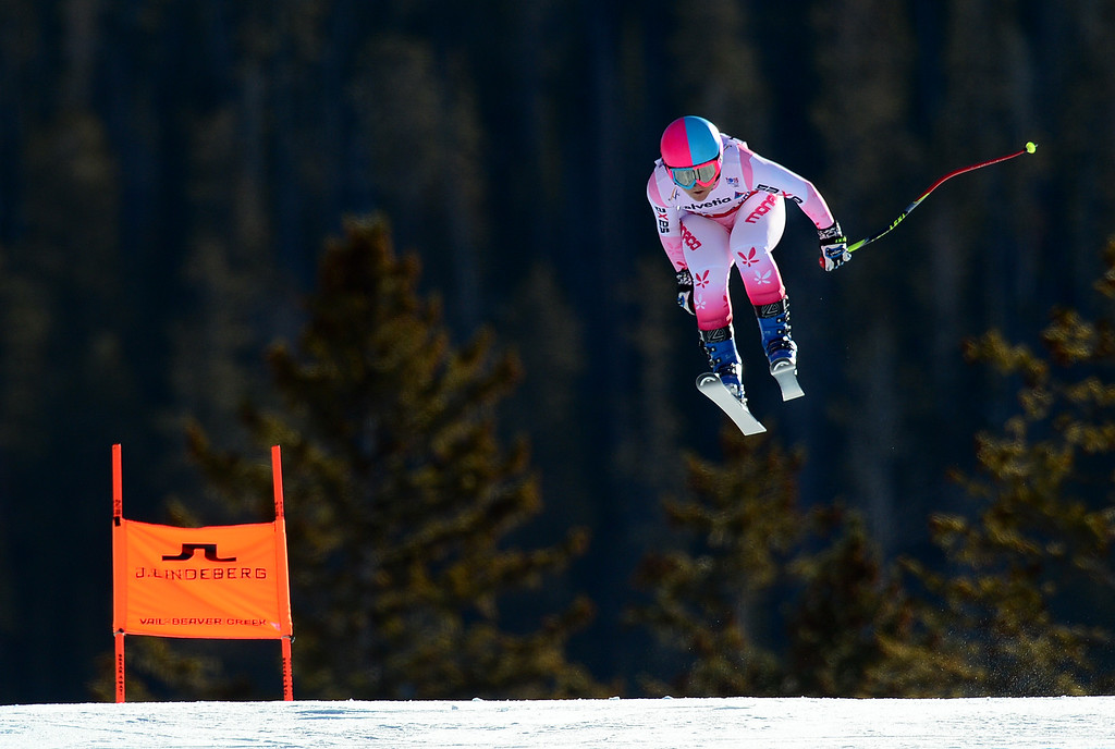 . Alexandra Coletti, (MON), flies over the Red Tail jump, the last jump, in the Women\'s downhill race in the FIS Alpine World Ski Championships in Beaver, CO. February 6, 2015. (Photo By Helen H. Richardson/The Denver Post)
