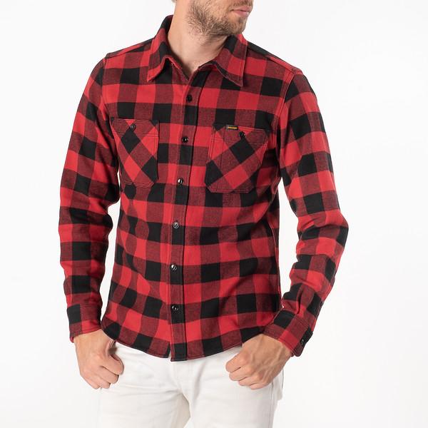 Ultra Heavy Flannel Buffalo Check Work Shirt - Red-Black-6925.jpg