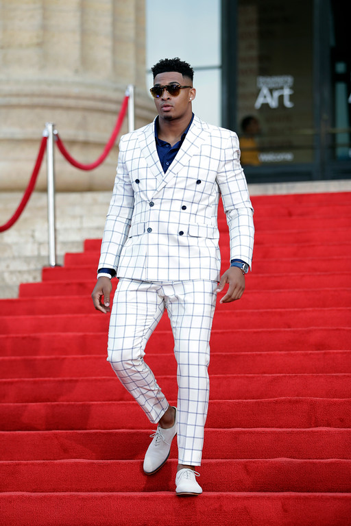 . LSU\'s Jamal Adams arrives for the first round of the 2017 NFL football draft, Thursday, April 27, 2017, in Philadelphia. (AP Photo/Julio Cortez)