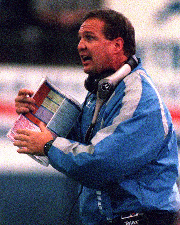. Detroit Lions Head Coach Marty Mornhinweg gets emotional on the sidelines of Sunday\'s 27-24 loss to the Tennessee Titans at the Silverdome.