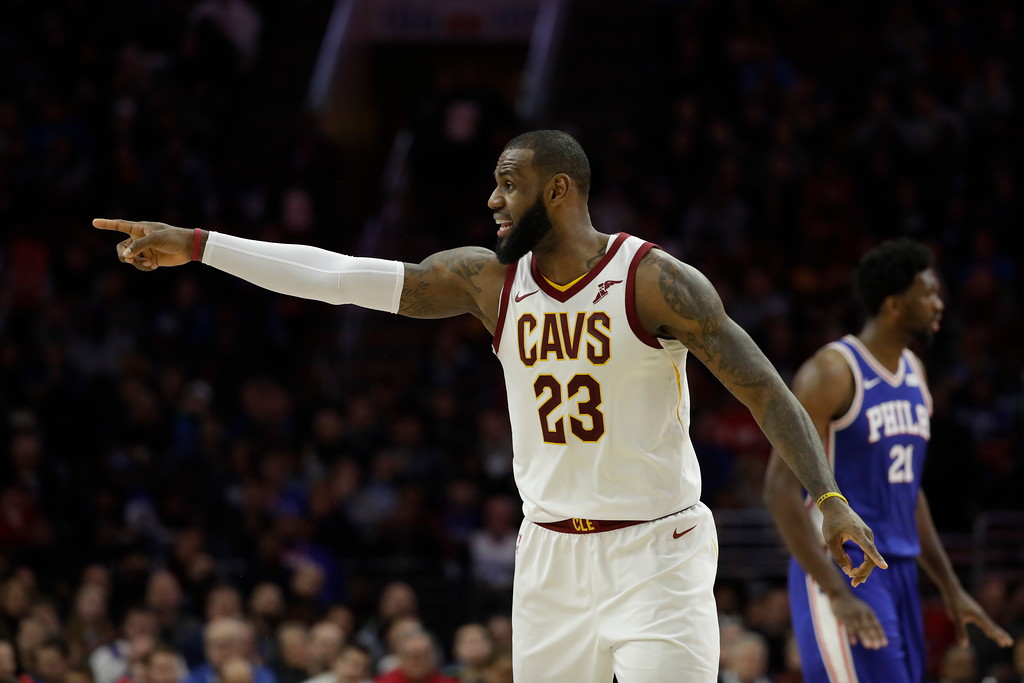 . Cleveland Cavaliers\' LeBron James in action during an NBA basketball game against the Philadelphia 76ers, Monday, Nov. 27, 2017, in Philadelphia. (AP Photo/Matt Slocum)