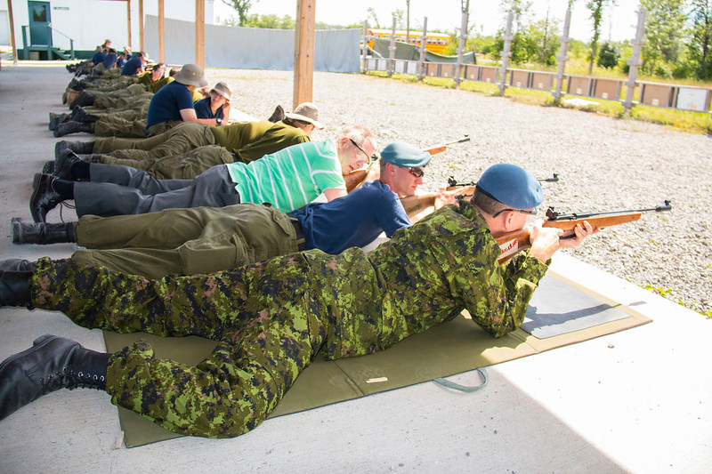 Colonel Perrault and Bill Fletcher at Connaught Cadet Training Centre on July 28, 2017 during 3-week course graduaton parade and at the Terry Whitty Air Rifle Range.  Photo credit: Captain Grant Cree, Unit Public Affairs Representative. Connaught Cadet Training Centre.  Credit Photo: capitaine Grant Cree, représentant des affaires publiques de l'unité. Centre d'entrainment des cadets Connaught. © 2017 DND-MDN Canada
