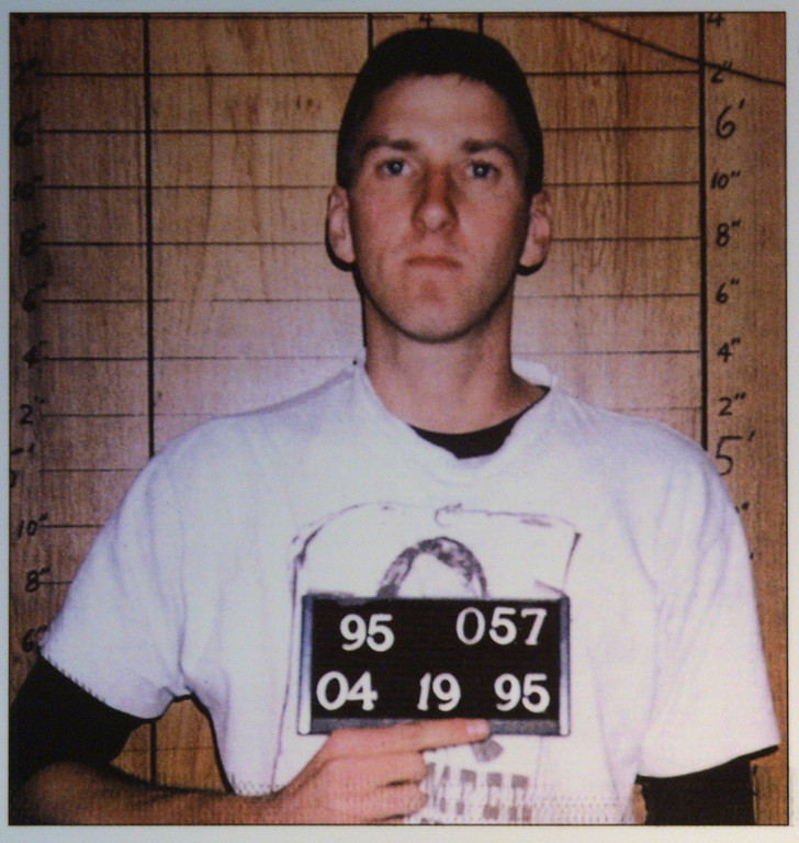 . A police mug shot of Timothy McVeigh is displayed June 12, 2001 at the Oklahoma National Memorial museum in Oklahoma City, one day after his execution. (Photo by Getty Images)