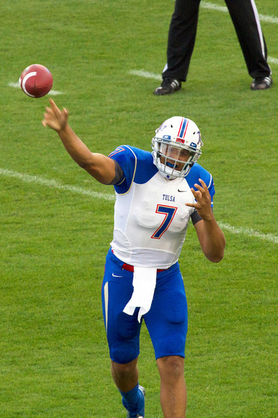 Tulsa quarterback Green passing