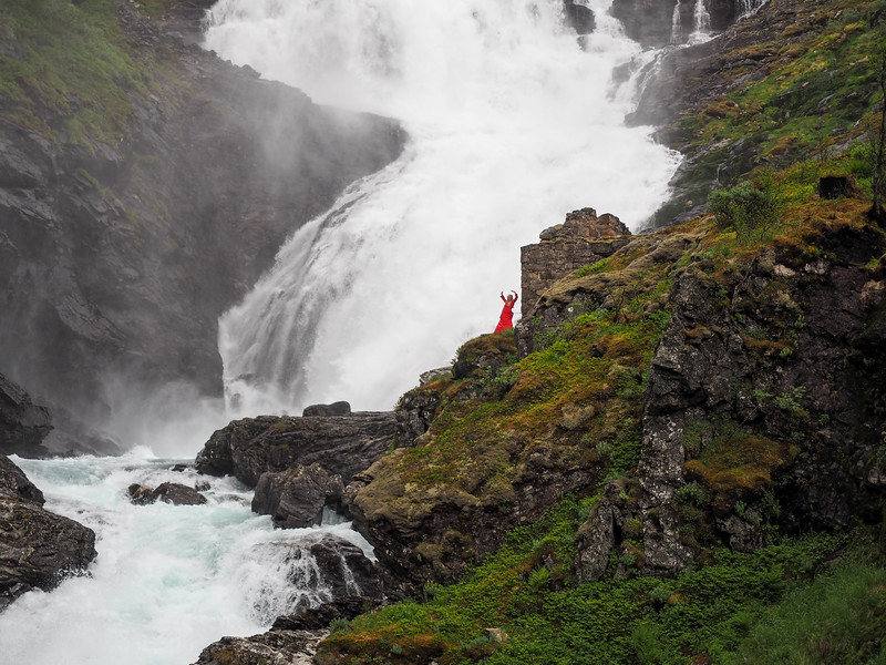 Waterfall spirit dancing at Kjosfossen