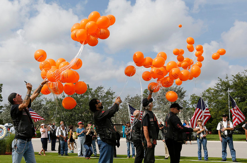 . Members of a veteran\'s group release balloons for the Agent Orange Memorial for those affected by the chemical agent in Vietnam at a Memorial Day Ceremony at the South Florida National Cemetery in Lake Worth, Florida May 27, 2013. REUTERS/Joe Skipper