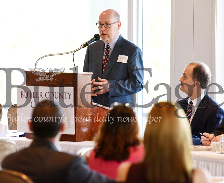 Harold Aughton/Butler Eagle: Rep. Jim Marshall of the 14th District addresses the business leaders gathered at the Butler Country Club Friday, May 17.
