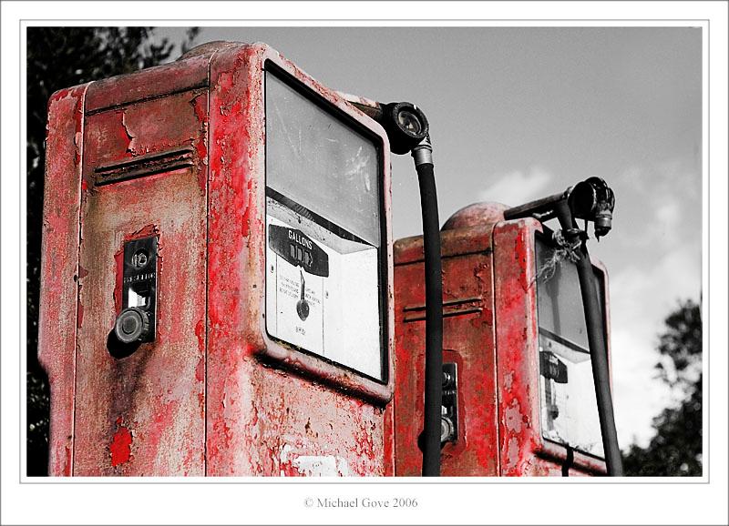 Old sisters  veteran petrol pumps in Aust Village Bristol (60980196).jpg