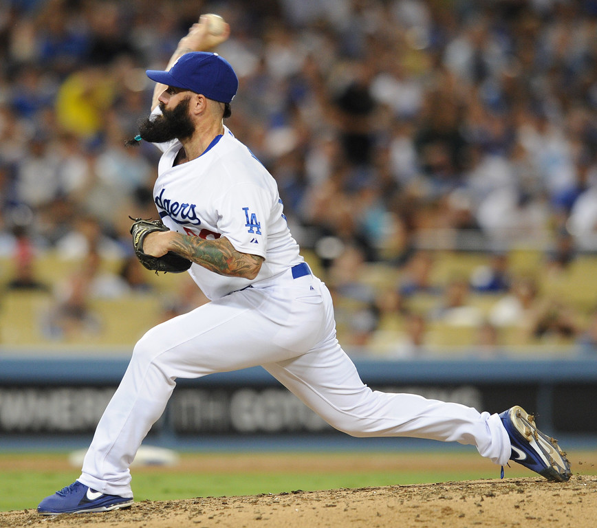 . Brian Wilson made a trip to the mound in the 6th inning. The Cubs were in town to play the Dodgers. Los Angeles, CA. 8/24/2013(John McCoy/LA Daily News)