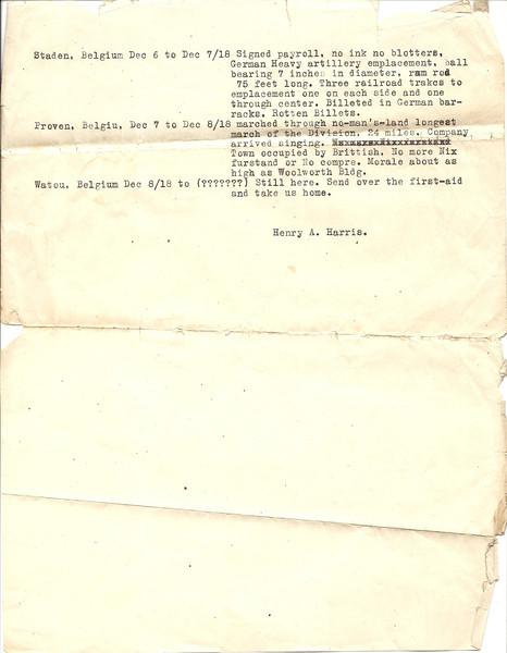 Henry Alanzo Harris WWI