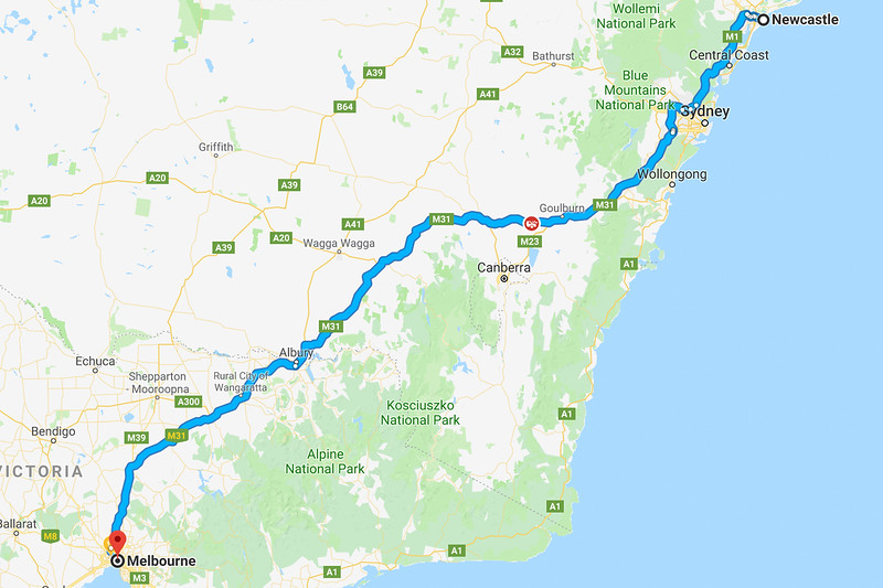 google maps newcastle to melbourne