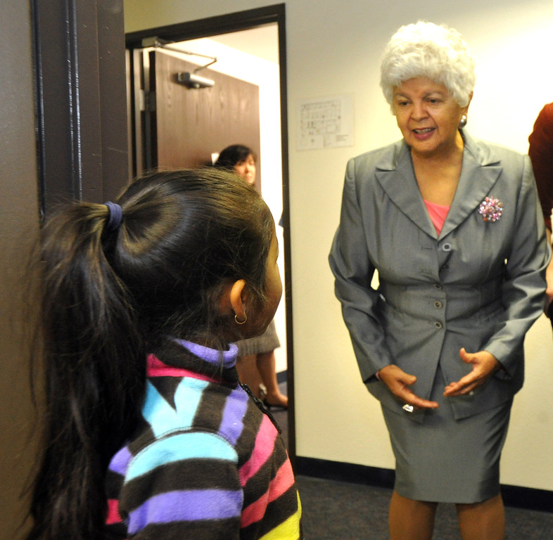 . Yvonne Solorio, 6, talks with Congresswoman Grace Napolitano at Foothill Family Service�s new El Monte South Family Center on Tuesday April 2, 2013. The family center provides mental health and social services for children and families in the greater El Monte area, including Early Head Start and school-based mental health services at local schools. (SGVN/Staff Photo by Keith Durflinger)