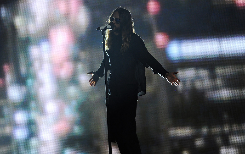 . Jared Leto performs at the iHeartRadio Music Awards at the Shrine Auditorium on Thursday, May 1, 2014, in Los Angeles. (Photo by Chris Pizzello/Invision/AP)