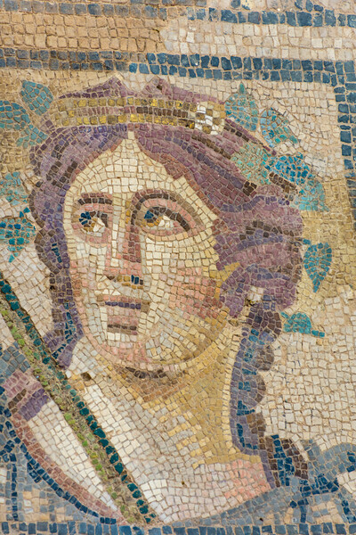 Detail of a mosaic of Dionysus, god of wine