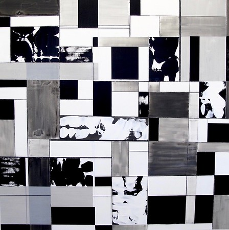 """Squaresville by Iorillo, 50""""x50"""" acrylic painting on loose canvas"""